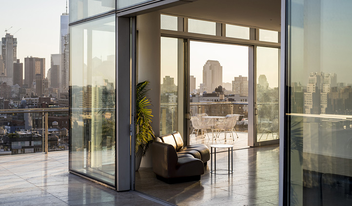 Penthouse views over the city