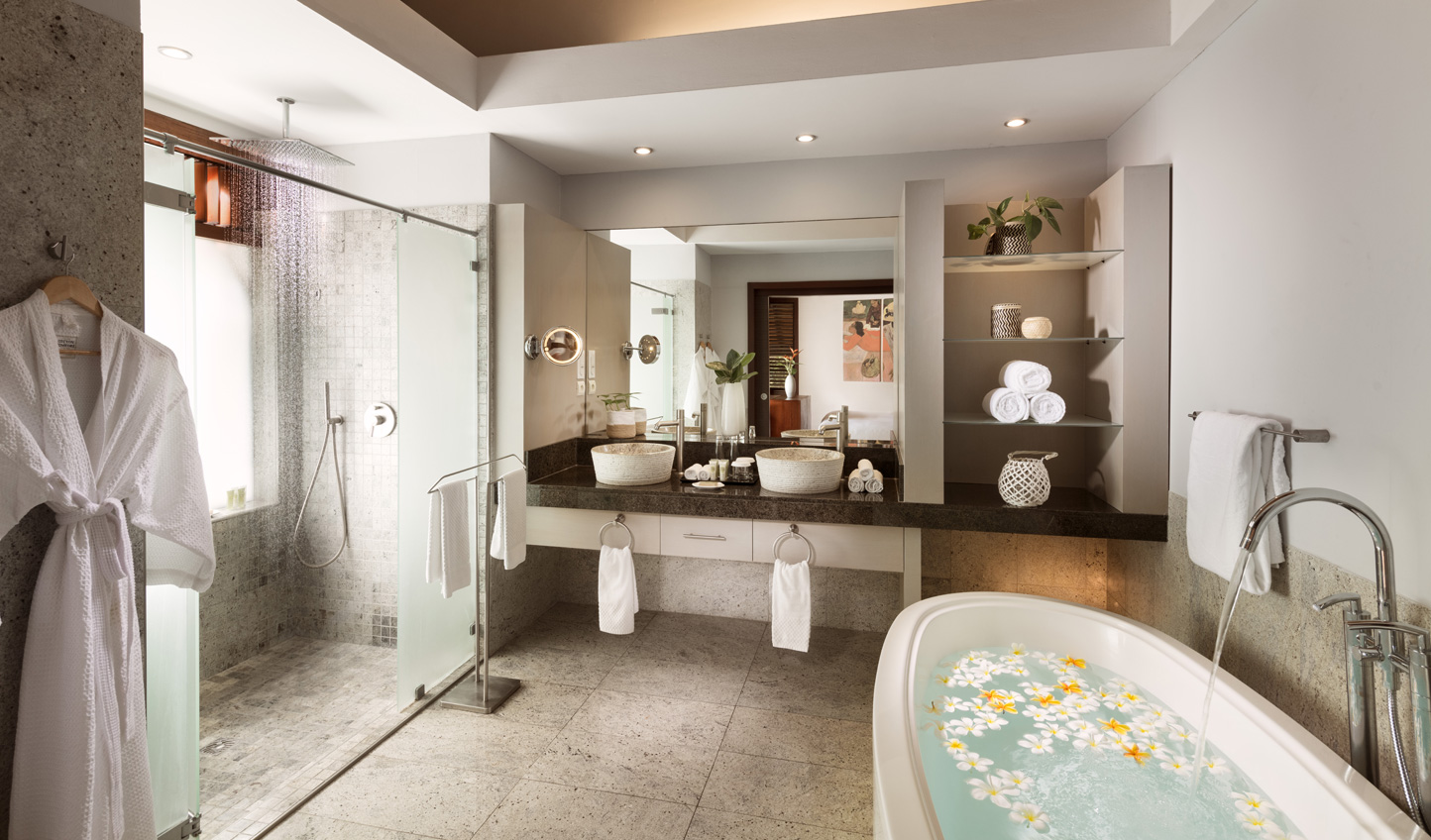 Sleek marble bathrooms add to the tranquil experience