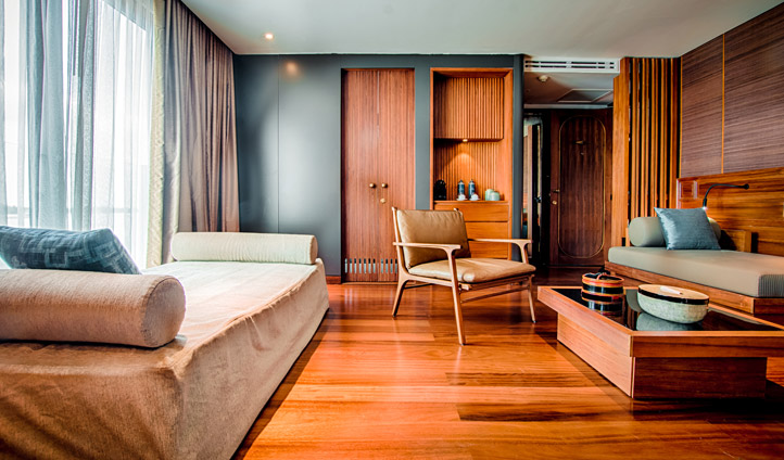 Spacious interconnecting suite with elegant wooden interiors
