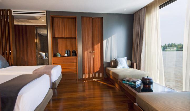 Spacious suite with panoramic river views