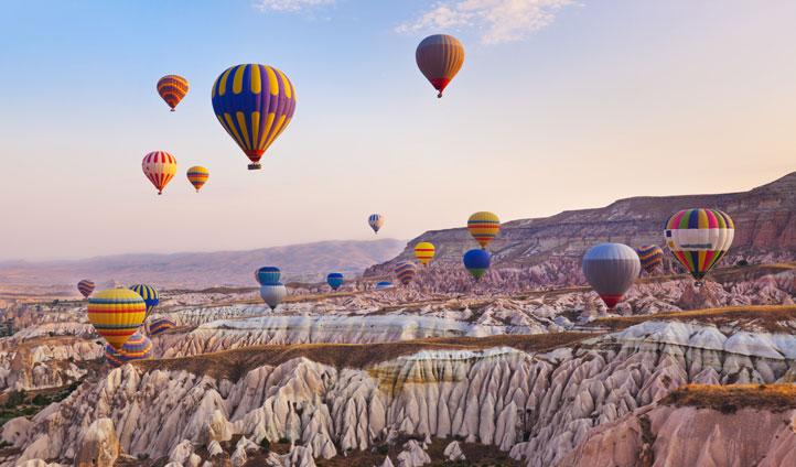 Hot air balloons over Cappadoccia, Turkey