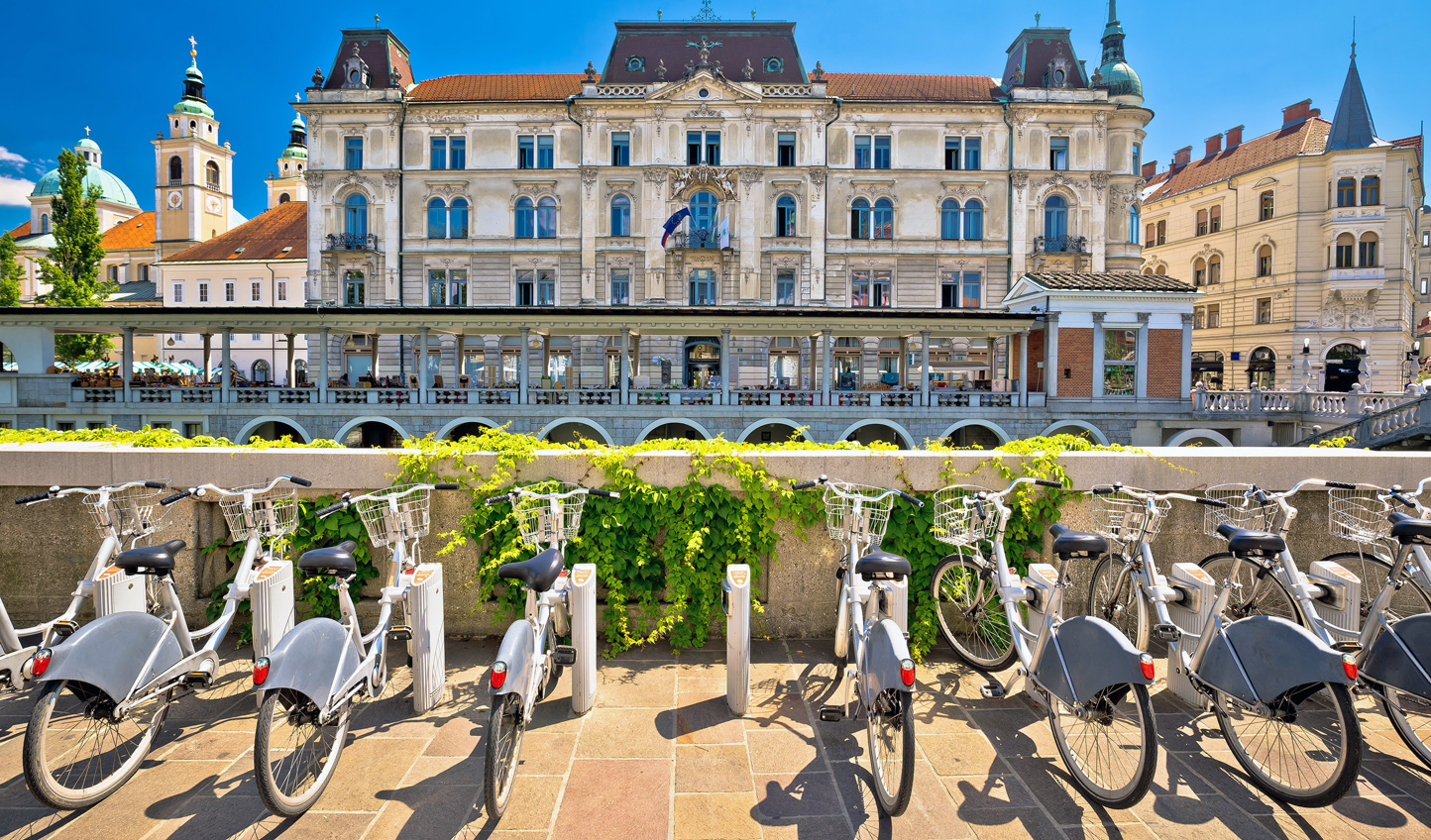 Hop on a bicycle and take in the sights of Ljubljana