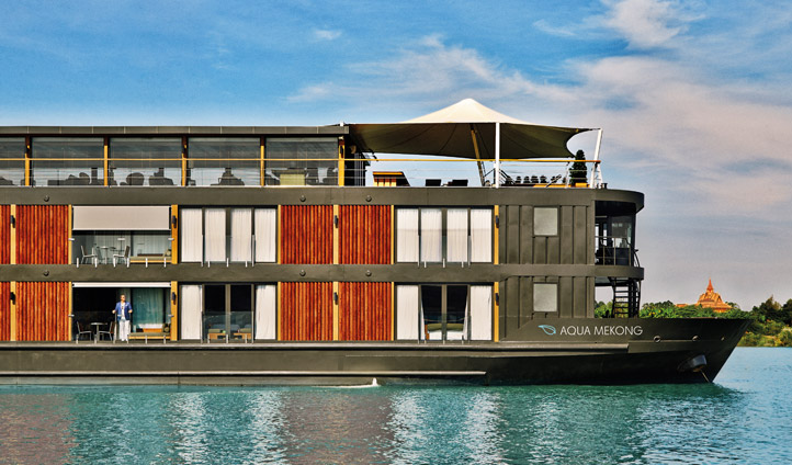 The beautiful exterior of the Aqua Mekong Cruise Ship