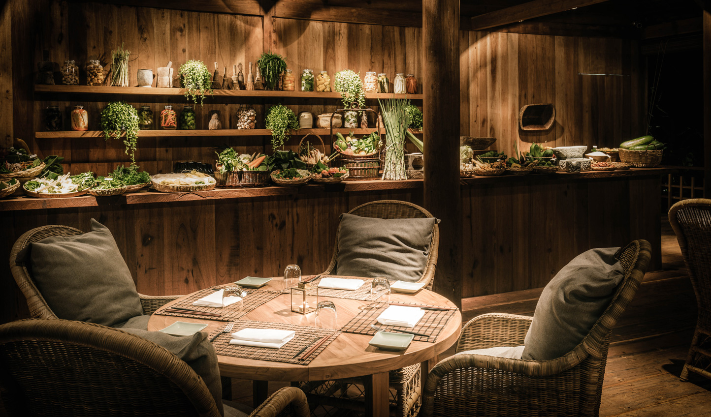 Dine on fresh cuisine straight from the gardens and paddy fields