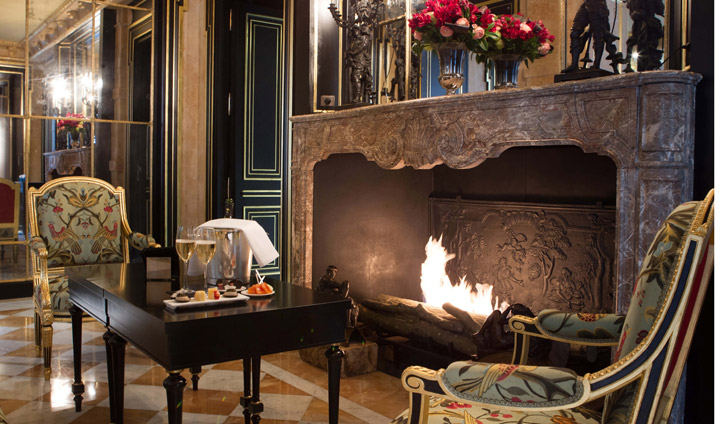 Huge marble fireplace in the hotel lounge