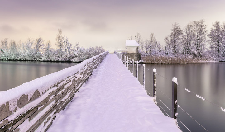 A snow dusted bridge outside Zurich