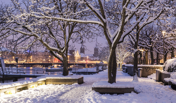 Zurich in its winter coat