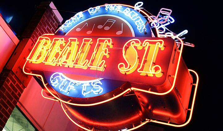 Beale Street lights illuminate the night