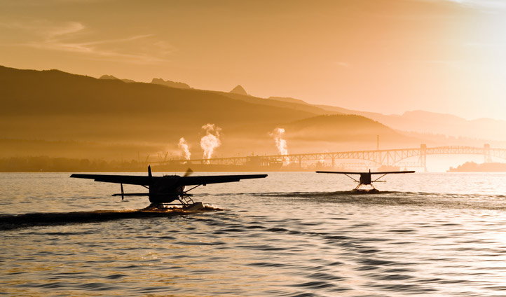 A float-plane takes off from Vancouver Harbour, Canada