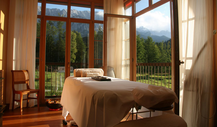 A spa treatment room with stunning views