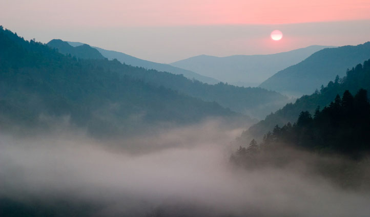 Watch the sun set over the Smoky Mountains
