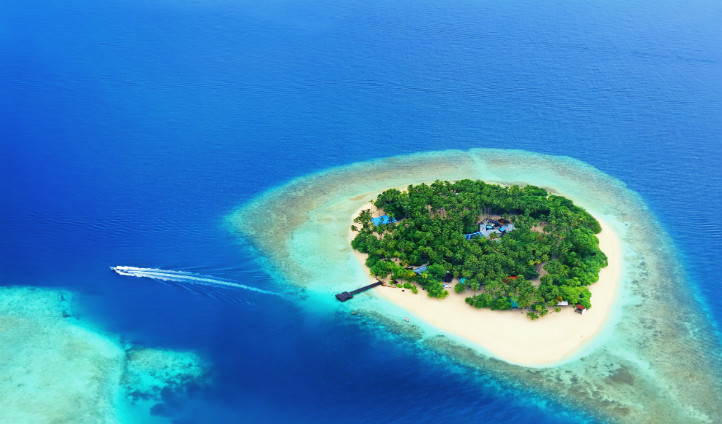 Arial view over the Maldives Islands