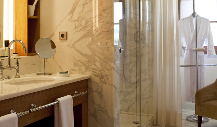 The luxurious marble bathrooms
