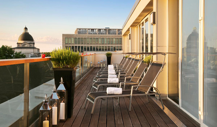 Admire the city views from the spa terrace