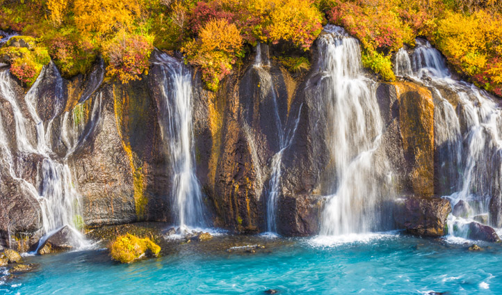 Hraunfossar waterfalls in northern Iceland