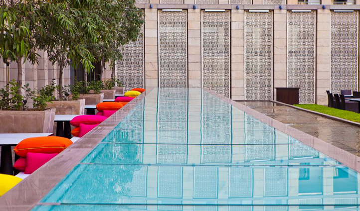 Take a dip in the pool to cool off from that Delhi heat