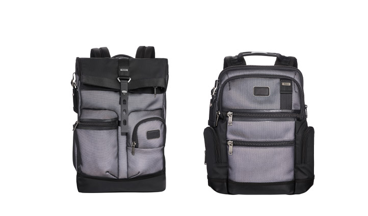 TUMI's classic Luke Roll Top and Alpha Knox Backpacks in reflective silver