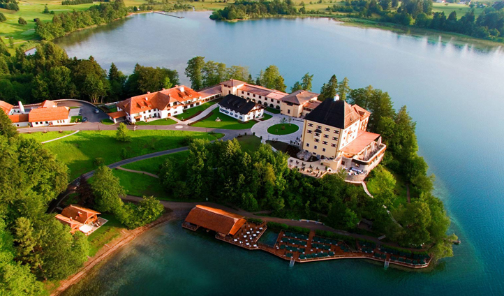 Schloss Fuschl sits majestically on the shores of Lake Fuschl