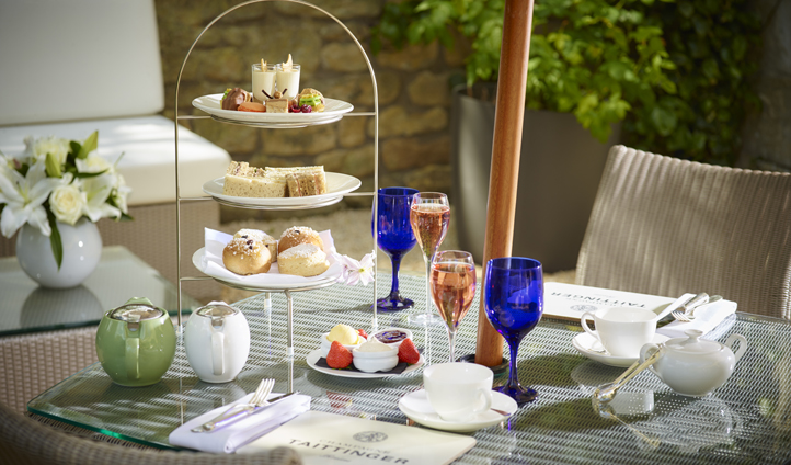 Enjoy a champagne afternoon tea outside on the terrace