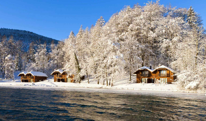 The lakeside cottages are an idyllic winter retreat