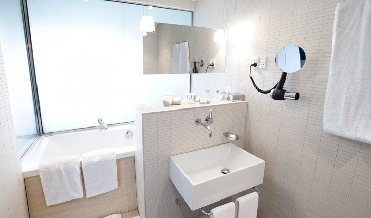 The modern design of Hotel Føroyar continues in the bathrooms