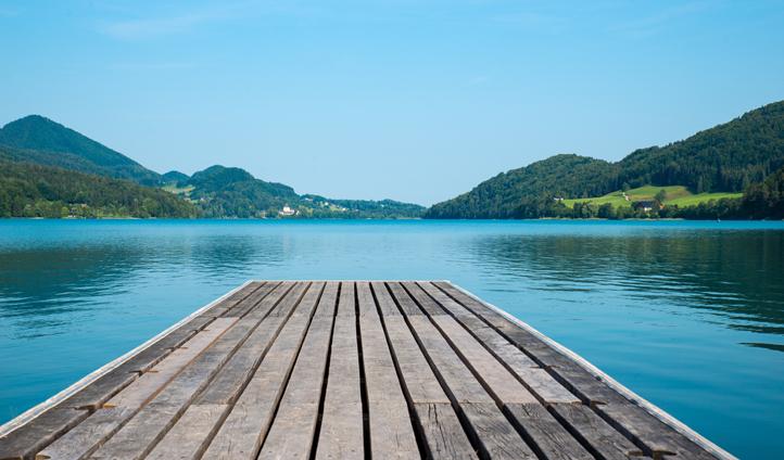 Panoramic views across Lake Fuschl