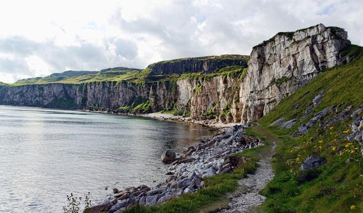 Towering cliffs line the Antrim coast