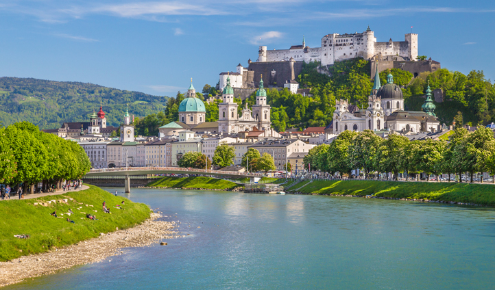 The Salzach River divides the New and Old Towns of Salzburg