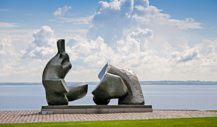 Louisiana Museum of Modern Art's waterfront location affords views across to Sweden