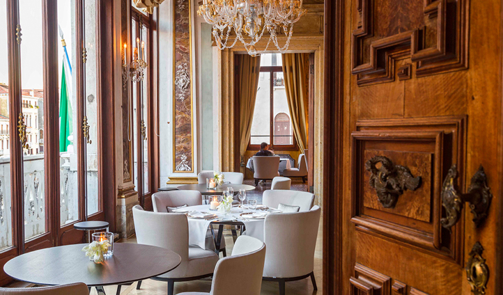 Dine in the Ballroom, overlooking the famous Grand Canal