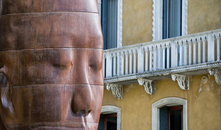 Contemporary art stands side by side with beautiful architecture in Venice