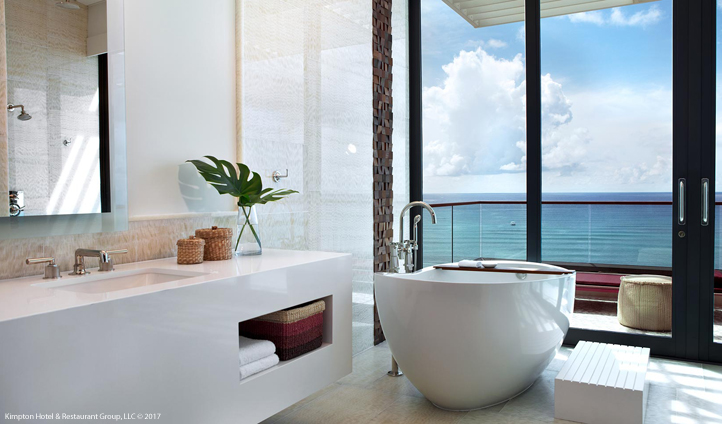 A bathtub with a view at the Kimpton Seafire boutique hotel