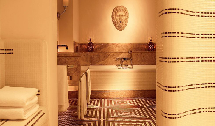 The opulent mosaic detailing of the Nijinsky Suite bathroom