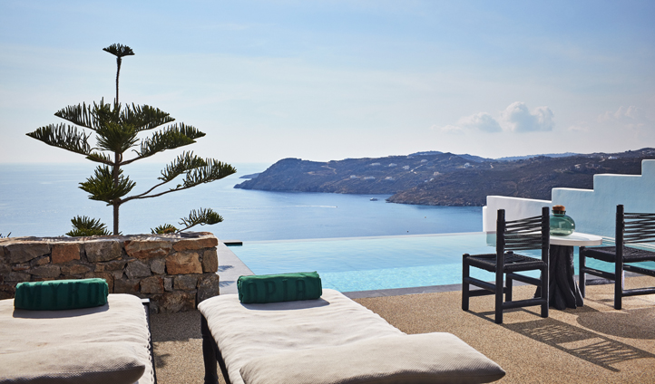 Look out over the Aegean Sea from your private pool and terrace