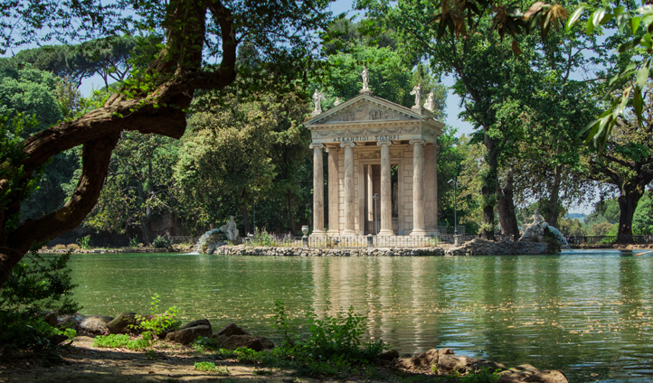 Enjoy a quiet stroll through the gardens of Villa Borghese