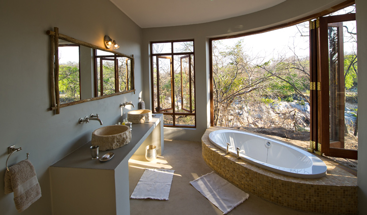 Watch wildlife go by as you soak in the tub