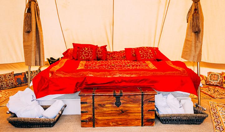 Swap sleeping bags for silk bedspreads