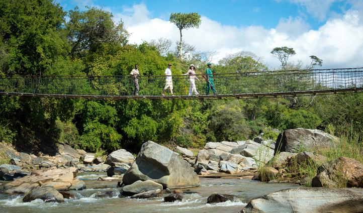 Arrive over the suspended footbridge and kickstart your safari adventure