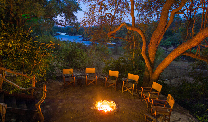 Gather around the campfire to swap stories at the end of the day