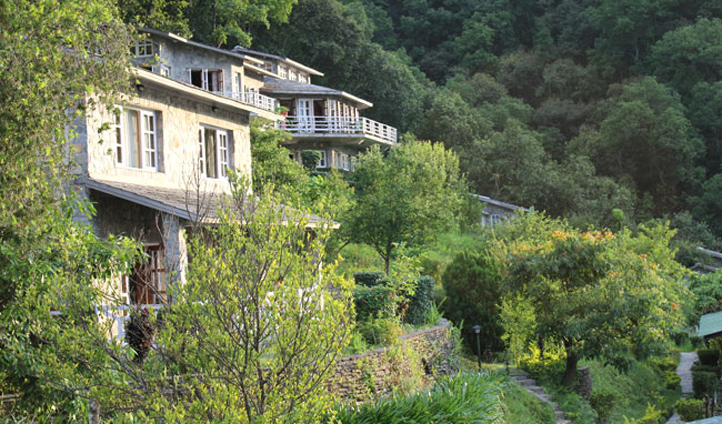 Each of the 42 rooms are built on old paddy terraces