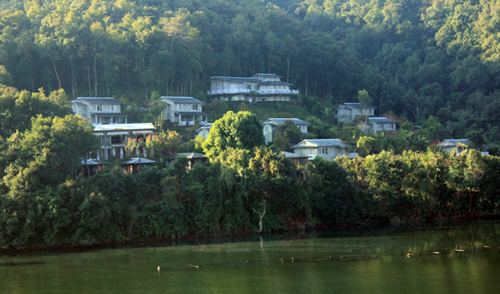 The view of Begnas Lake Resort & Villas from the lake