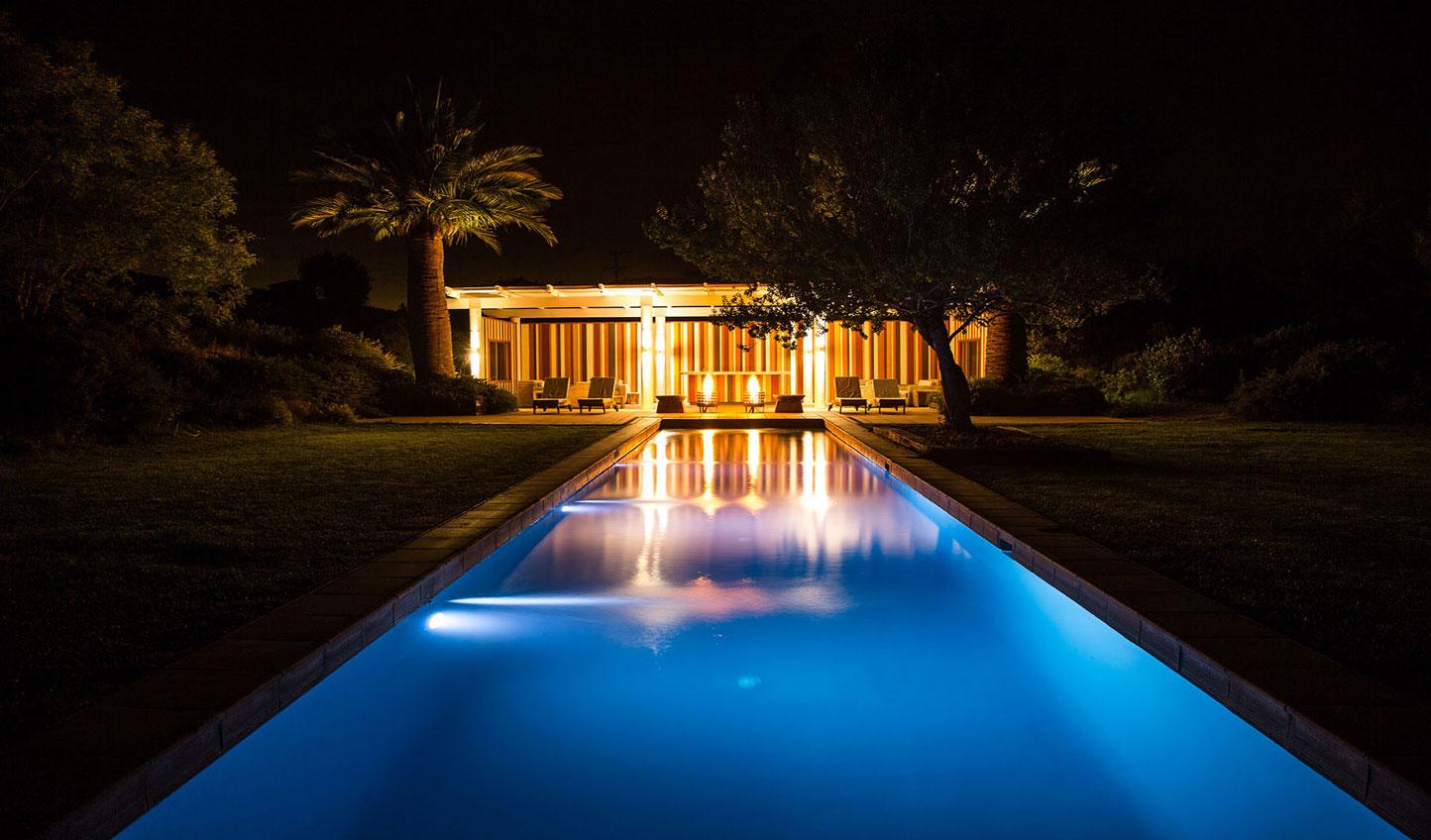 La Casona pool at night