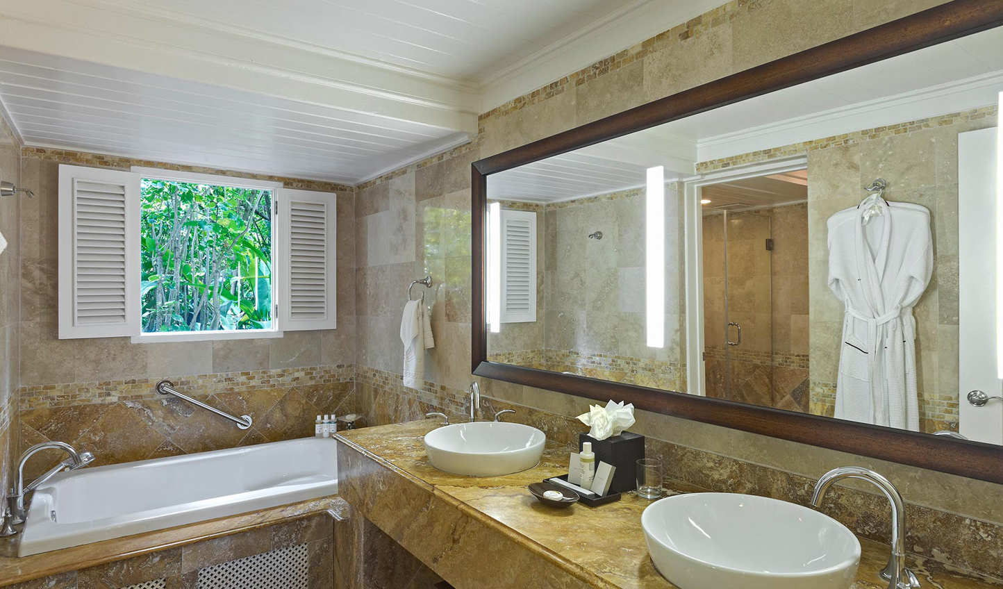 Marble bathrooms bring all the luxury of a grand hotel