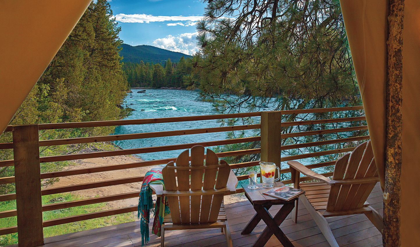 Enjoy beautiful views of Blackfoot River right from your tent at the River Camp