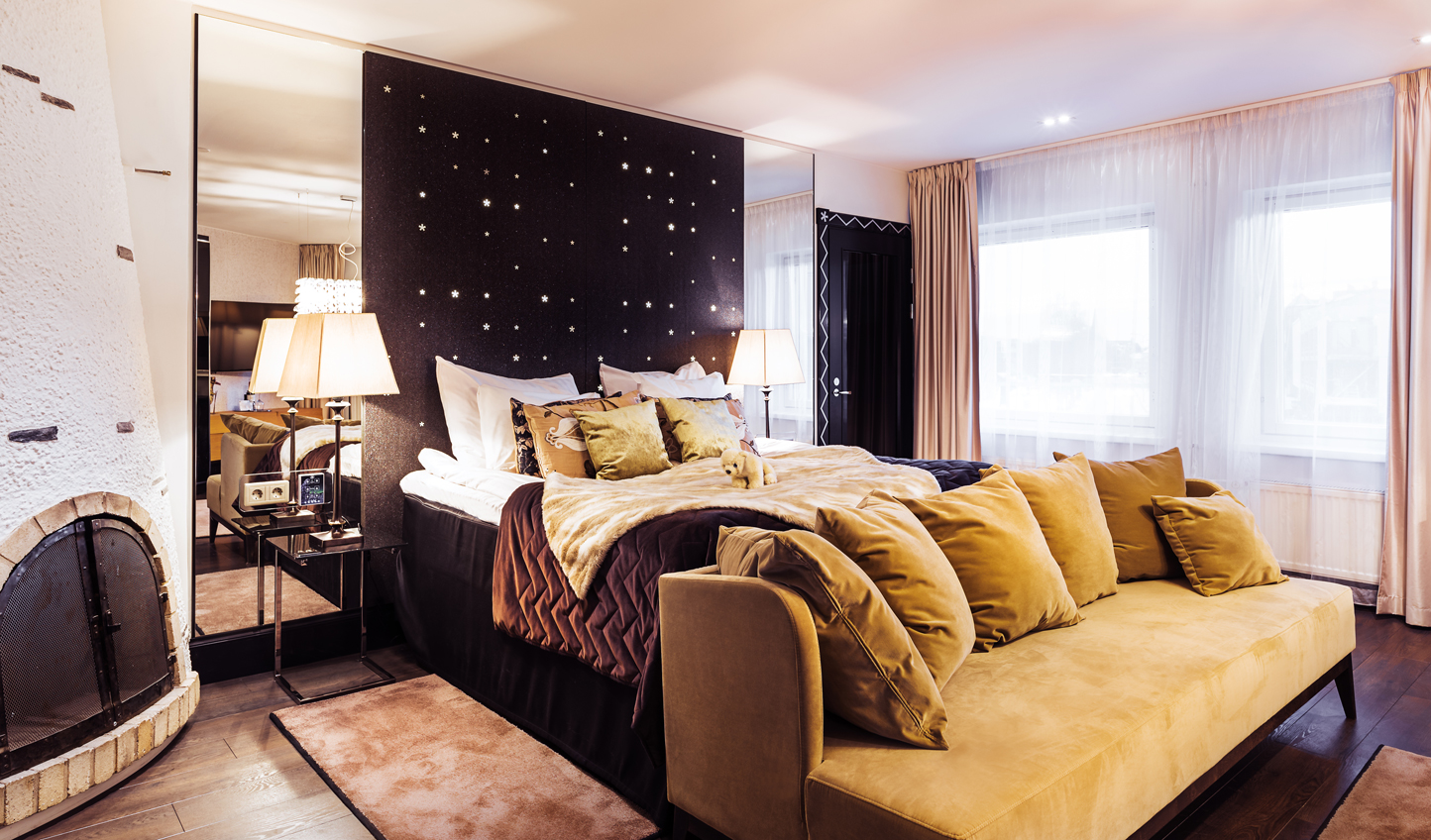 Modern yet cosy rooms provide a welcome respite from the snow outside