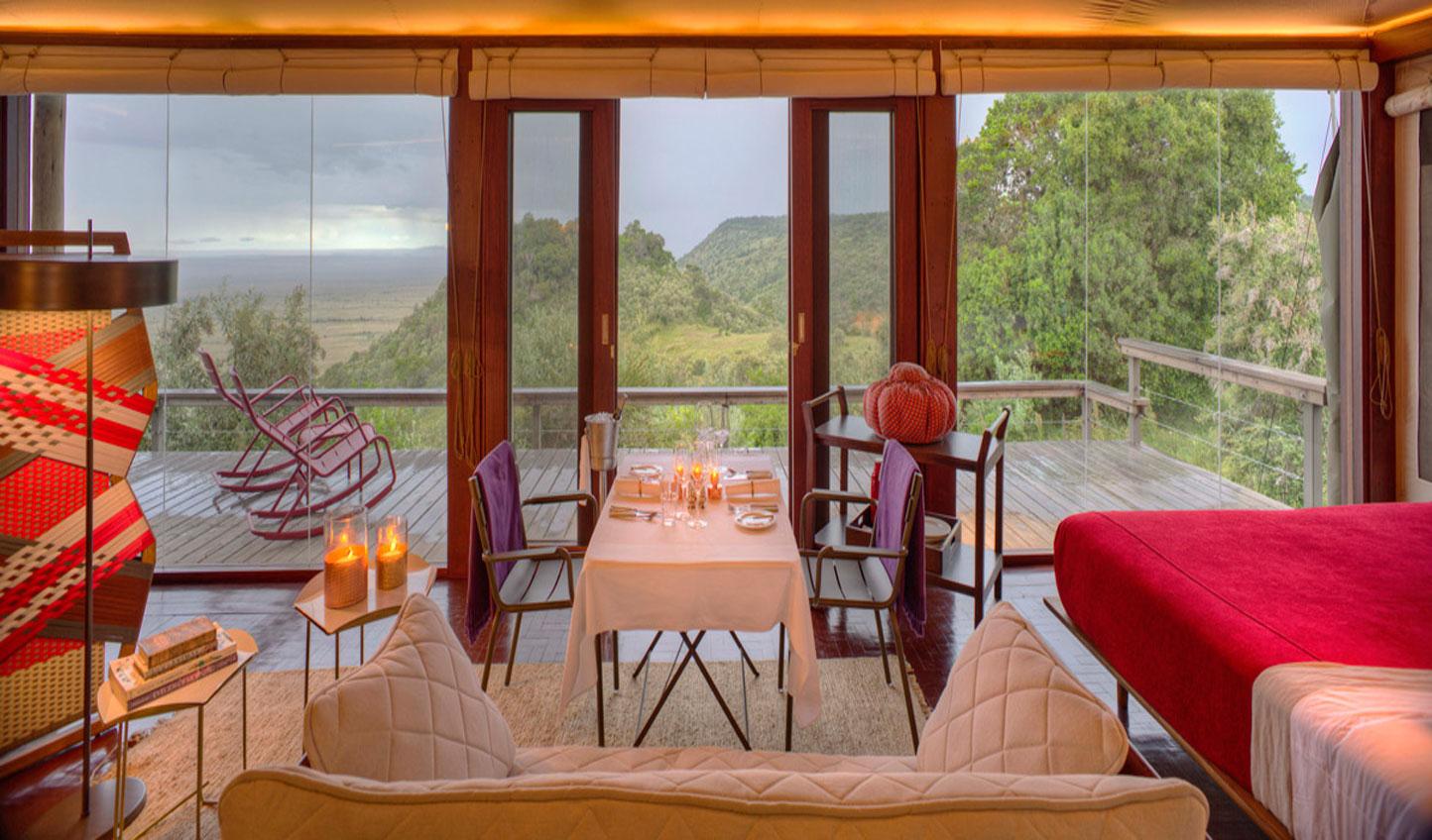 Lavish interiors of the Angama Mara