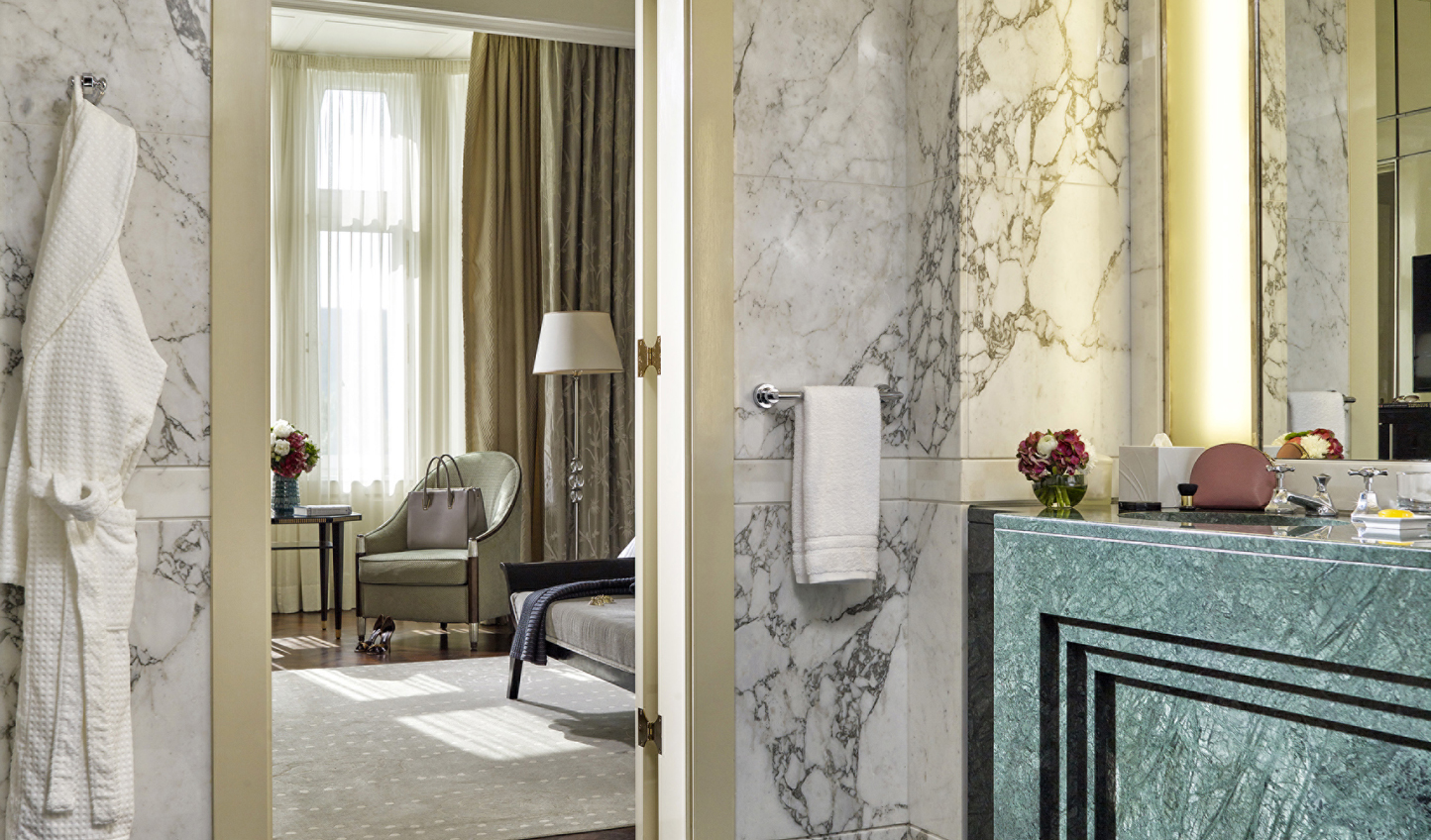 Marble bathrooms add an extra level of luxury
