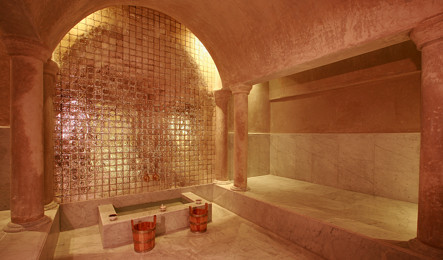 Shimmering tiles,. warm marble and oriental spices in your traditional hammam
