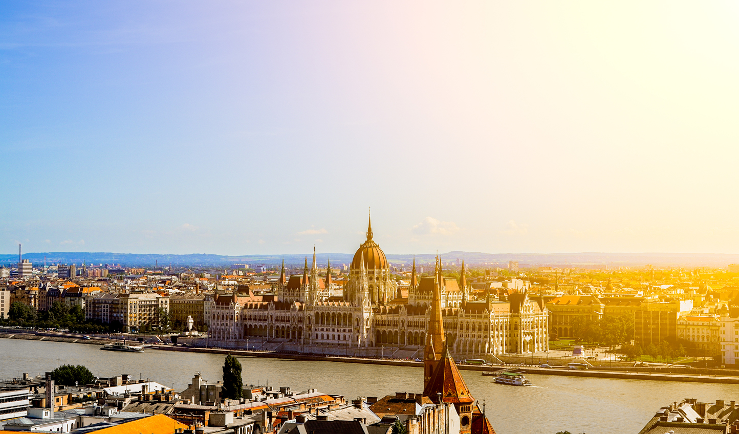 Watch the sunset on Budapest's iconic House of Parliament