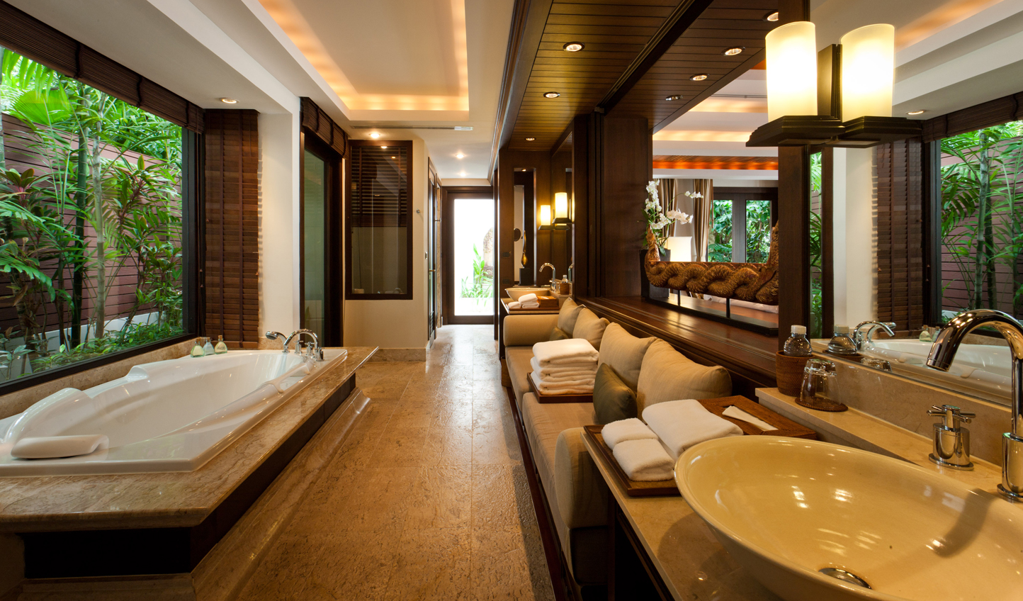 Decadent bathrooms with sumptuous bathtubs and outdoor showers